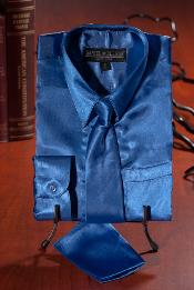 Royal Blue Satin Combo Mens Dress Shirt