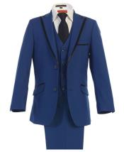 Kids Sizes Tuxedo Suit Royal Blue Dress Suit Perfect For boys wedding outfits for Men With Adjustable