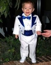 Two Toned White Tailcoat Tuxedo Royal Blue Available in
