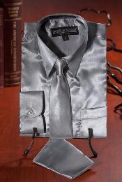 Silver Satin Combo Mens Dress Shirt