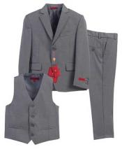 Formal Gray 3 Piece Notch Lapel Single Breasted Vest Suit With
