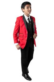 Two Button Red Tuxedo Suits 5 Piece VestShirtTie and Hanker