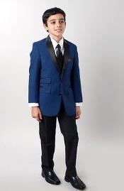 4 piece Boys Slim fit style Kids Sizes Tuxedo Blue with vest