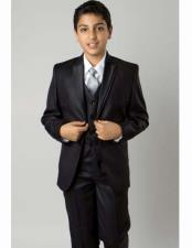 Solid Black 5 Piece Double Lapel Suit Vested With ShirtTie &