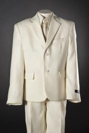 Boys 5 Piece 2 Button Ivory Suit