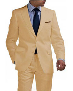 Mens Sand Linen Tapered Cutting Two Button Suit