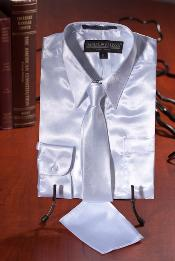 White Satin Dress Shirt Combo Mens Dress Shirt