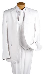 White 5 Piece 2 Button Suit - White