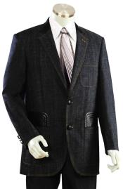 Mens Brass Button Black Plain Zoot Suit