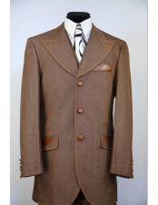 brass Buttons Wide Peak Lapel denim 3pc zoot suit
