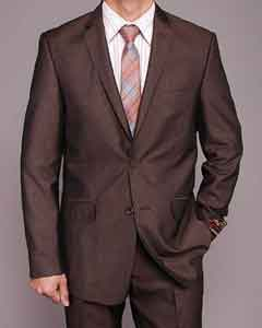 European Skinny Notch Lapel No Pleated Pants Brown Micro-Stripe ~ Pinstripe 2-button Slim-fit Suit