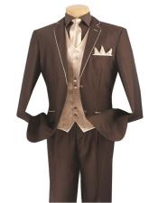 Mens Brown/Beige 5 Piece  2 Button Side Vents Suit