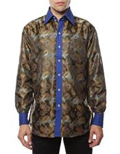 Blue Shiny Satin Floral Spread Collar Dress Shirt