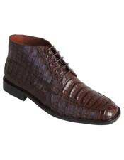 Altos Mens Stylish Exotic Caiman Crocodile Belly Brown Dress Ankle Boot