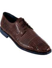 Brown Dress Shoe BROWN Genuine Caiman Crocodile With Lizard Dress Oxford Los