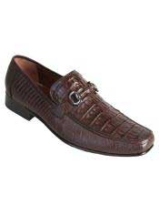 Altos Mens Stylish Genuine Caiman Belly & Lizard Slip-On Brown Casual