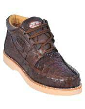 Altos Mens Stylish Brown Genuine Caiman & Ostrich Skin Casual Sneakers