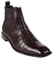 Mens Short Boots World Best Alligator Skin Belly Brown ~ Mens Genuine