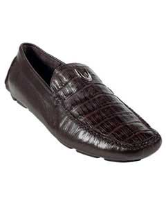 Mens Brown Genuine Caimen Belly Driver Vestigium Driving Shoes slip on Stylish