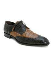 Mens Mezlan Duncan  2 tone Brown Camel Crocodile Wingtip Shoes Authentic Mezlan Brand