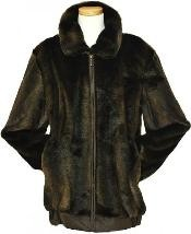 Mens Stylish Faux Fur Bomber Jacket Brown