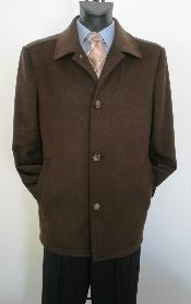Dress Coat Single breasted Brown 3/4 Pea Coat Valenti Designer Wool