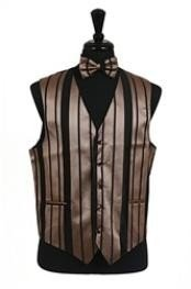 Tuxedo Wedding Vest/Tie/Bowtie Sets (Black-Mocha Combination) Buy 10 of same color Tie For $25 Each