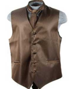 Tuxedo Wedding Vest ~ Waistcoat ~ Waist coat Tie Set Brown