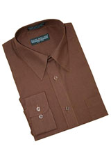 Chocolate Brown Cotton Blend Dress Shirt With Convertible Cuffs