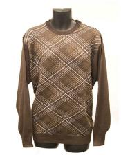 Mens Brown Crew Neck Sweaters Available in Big And Tall Sizes