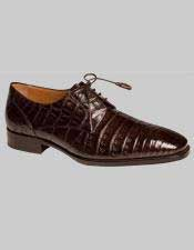 Mens Mezlan Brown Sleek Style Crocodile Leather Sole Lace Up Shoes