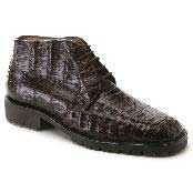 Brown Lambskin Leather Alligator Gator Shoes