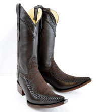 "New Reg: $795 discounted sale clearance diamonds Boots Original Brown Deer Skin And Bull Neck ""3x-Toe"" Boots"