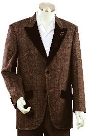 Stylish Brown Fashion Unique Denim Cotton Peak Lapel Fashion Tuxedo For Men