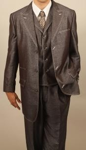 Brown Denim Look 3PC Fashion Zoot Suit