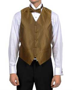 Sahara Bronze ~ Camel Diamond Pattern 4-Piece Vest Set Also available