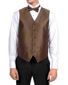 Mens Dark Brown Diamond Pattern 4-Piece Vest Set Also available in Big and Tall Sizes