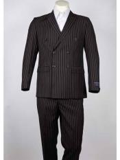 Pinstripe Brown Double Breasted Peak Lapel Summer Suit