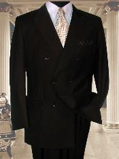 Classic Double Breasted Solid Color Brown Suit With Side Vent Jacket