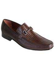 Brown Dress Shoe Mens Slip On Stylish Dress Loafer Style Genuine Lizard