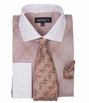Brown French Cuff Mini Plaid/Checks Dress Shirt With Tie And Handkerchief White Collar Two Toned Contrast