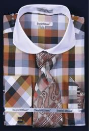 French Cuff Dress Shirt Set White Collar Two Toned Contrast Bright Checker Brown Plaid ~ Windowpane