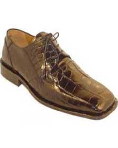 Mens Genuine World Best Alligator ~ Gator Skin Shoes Chocolate