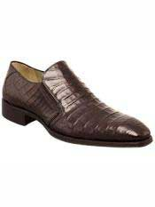 Brand Brown Genuine Crocodile Loafer Shoes