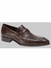 Brand Sierpes Style Genuine Crocodile Brown Loafer Shoes