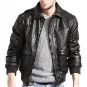 Mens Brown Lambskin Leather Bomber Jacket