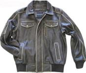 Black European fit Hand Treatment tanners avenue jacket ~ Mens Cowhide Leather Bomber Jacket