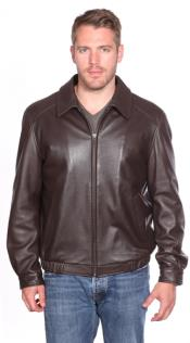 Genuine Leather Bomber Jacket Brown