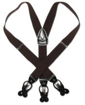 Solid Dark Brown Leather Suspenders Elastic Y-Back Button & Clip-On