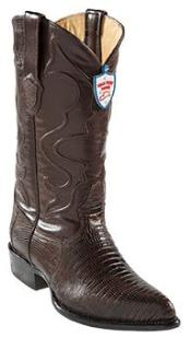 West Brown Teju Lizard J -Toe Cowboy Boots